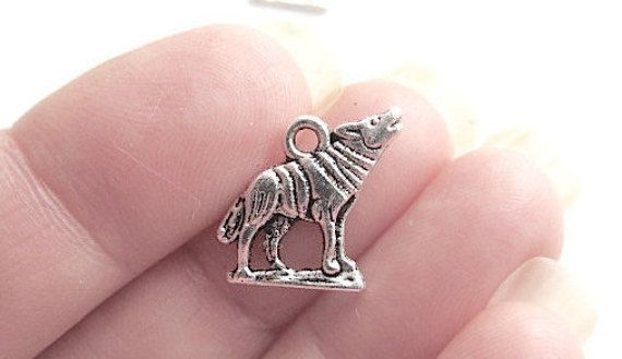 10 Wolf Charms Silver Tone Charm Pendants  15mm x by JWRSupply