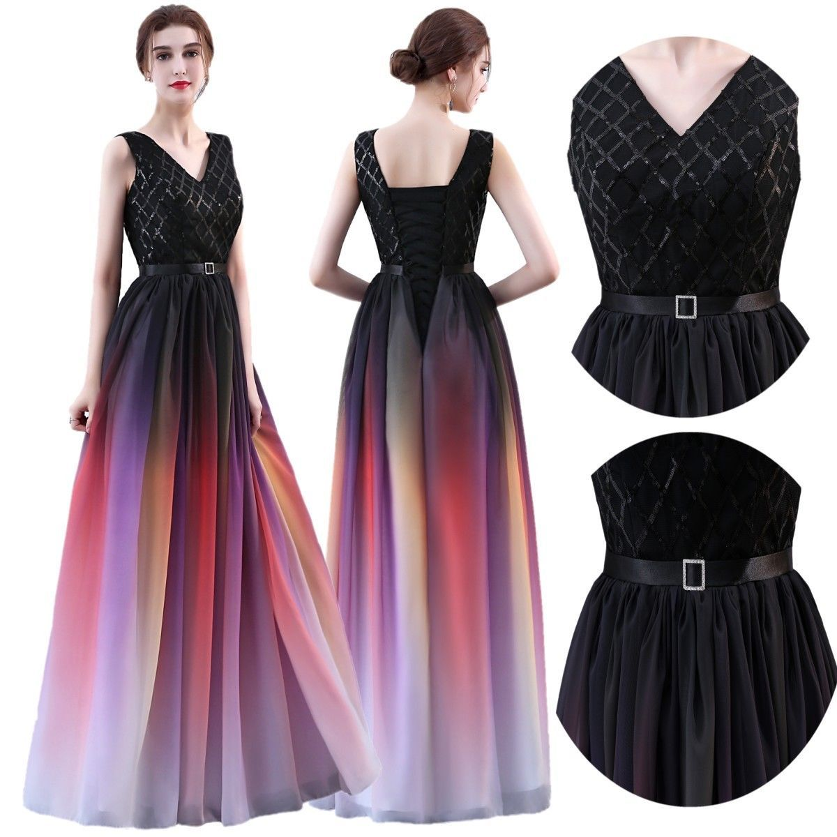 Red blue grey vneck gradient ombre chiffon formal prom dress