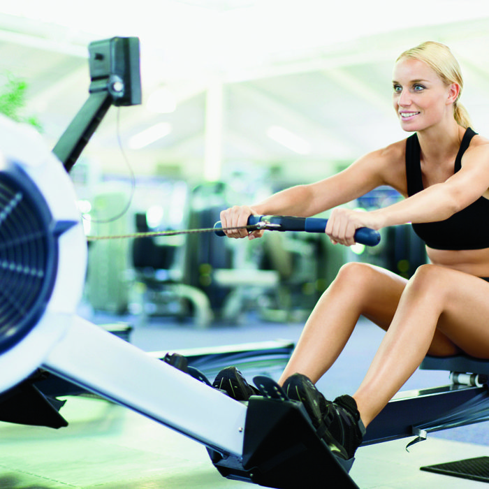 """When you only have half an hour at the gym, grab a pair of dumbbells and make a beeline for a rowing machine. """"Rowing burns up to 13 calories a minute,"""" says LA-based trainer Jay Blahnik. """"And it"""