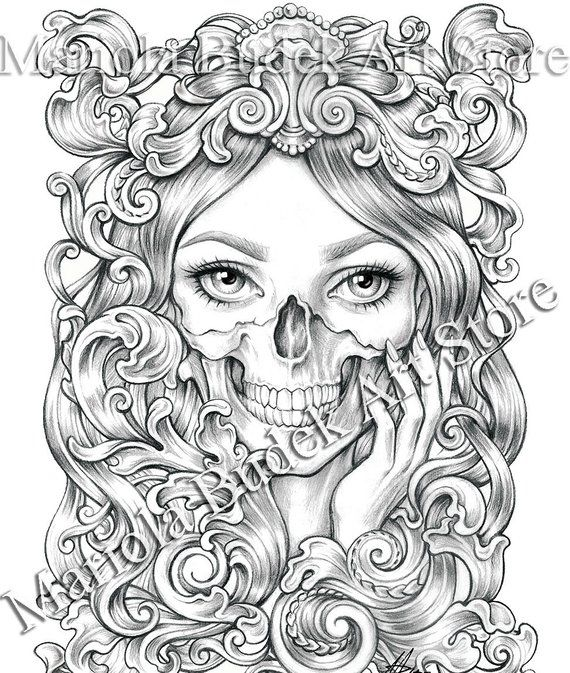 Skull Mariola Budek Premium Coloring Page Printable Etsy In 2021 Skull Coloring Pages Coloring Pages Love Coloring Pages