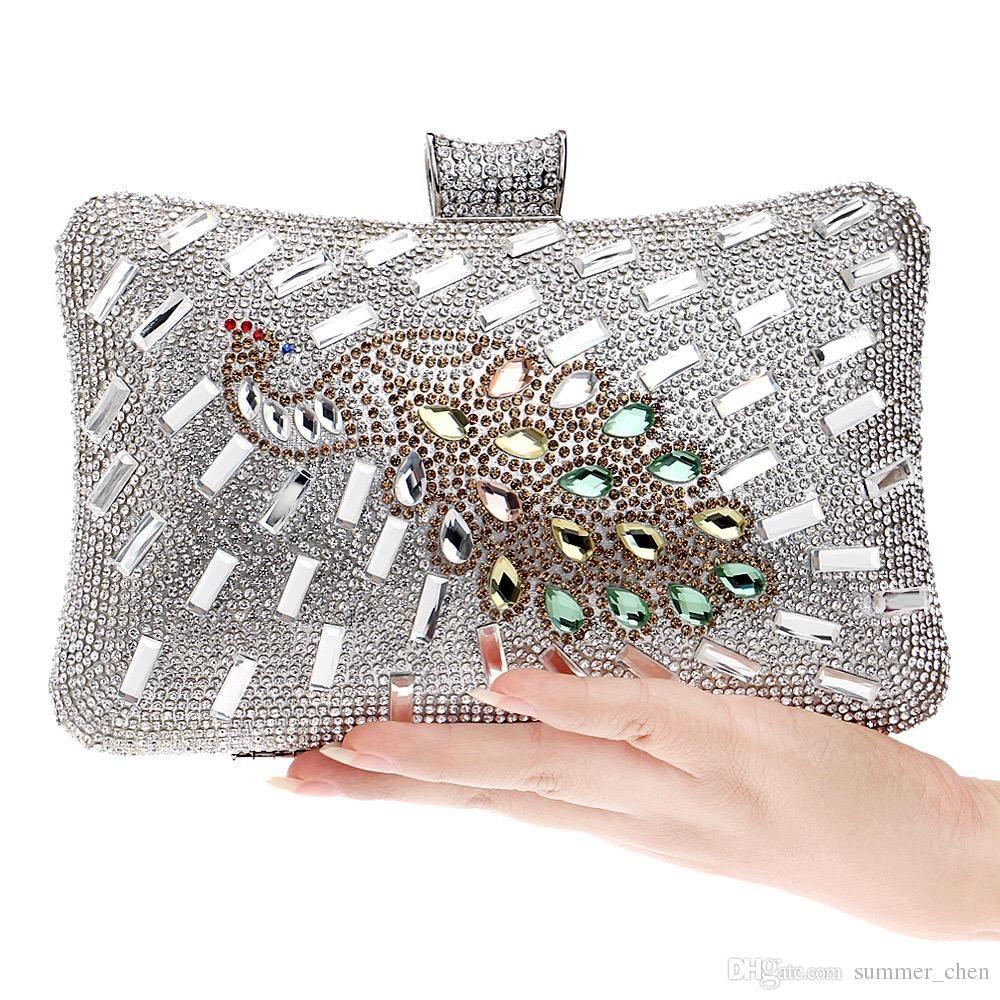 e65805c4599 2018 European American Luxury women clutch,Peacock diamond evening ...
