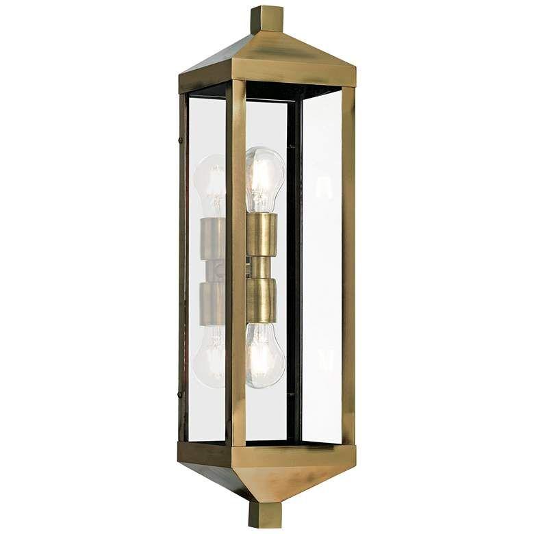 Nyack 24 High Antique Brass Outdoor Wall Light 42j97 Lamps Plus In 2020 Outdoor Walls Wall Lights Outdoor Wall Lighting