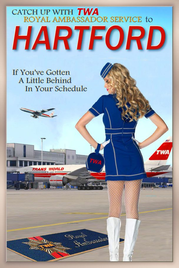HARTFORD  Connecticut TWA Airlines 707 Boeing 777 Poster Pin Up Art Print 251