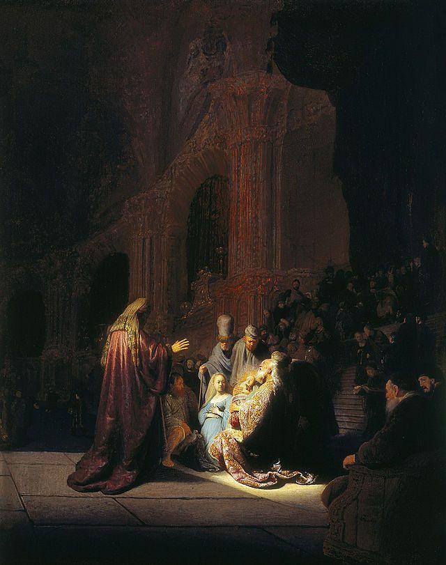 Rembrandt van Rijn, Het loflied van Simeon, 1631. Jozef en Maria zijn in de tempel om de pasgeboren Jezus op te dragen aan God. Daar wordt het kind door Simeon herkend als de langverwachte Messias. De oude man neemt hem in zijn armen en heft een loflied aan. Het goddelijke licht dat hem overspoelt, lijkt uit het kind zelf te komen. Rembrandt was vijfentwintig jaar en woonde nog in Leiden, toen hij deze voorstelling schilderde.