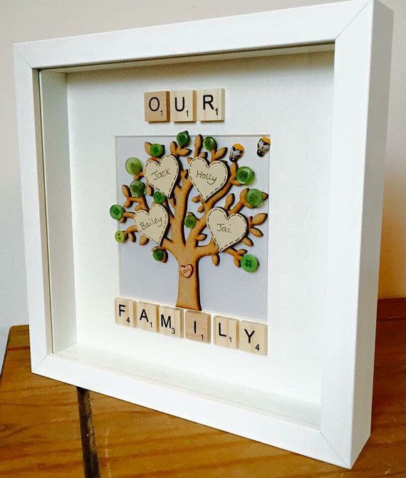 Personalised framed family tree frame, scrabble style tiles, wooden ...