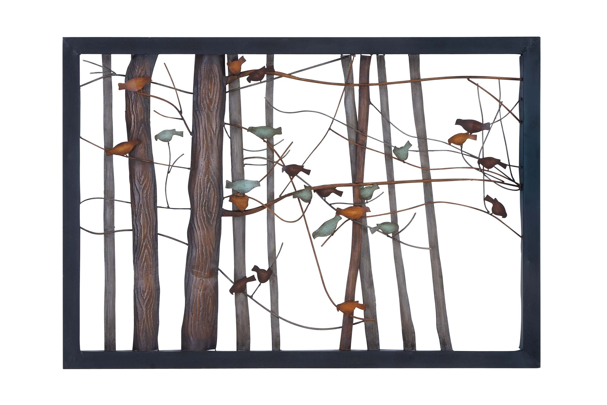 Updated Traditional Wrought Iron Birds On Branches Wall Frame