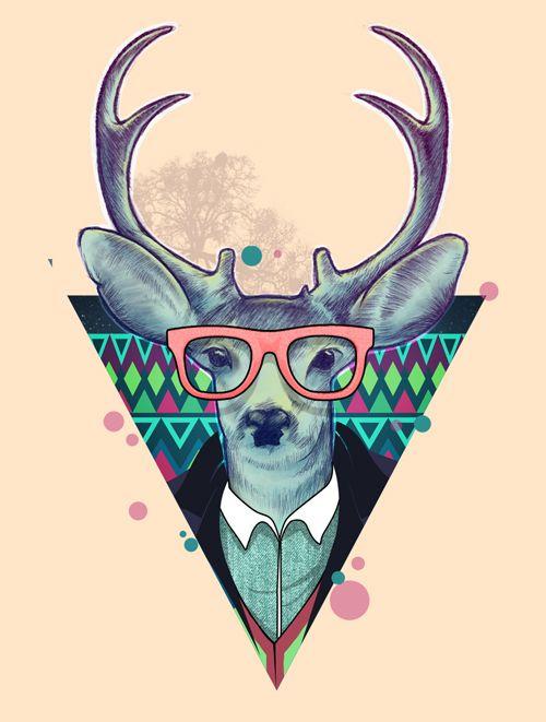 Fauna Hipsters Deer Art Print Hipster Wallpaper Art