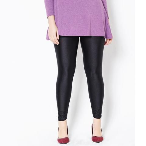 e0a83b3ceb6 Yesello Plus Size XXXL Black Solid Fluorescent Leggings Women Casual Shiny  Glossy Legging Female Fiteness Pencil Leggins Pants