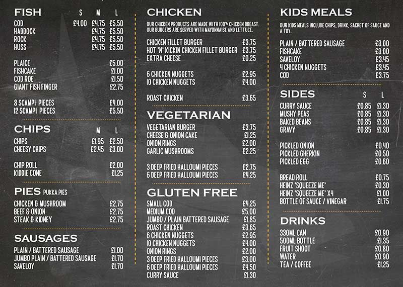 The Fish And Chip Shop  Stevenage Side  Double Sided A Menu