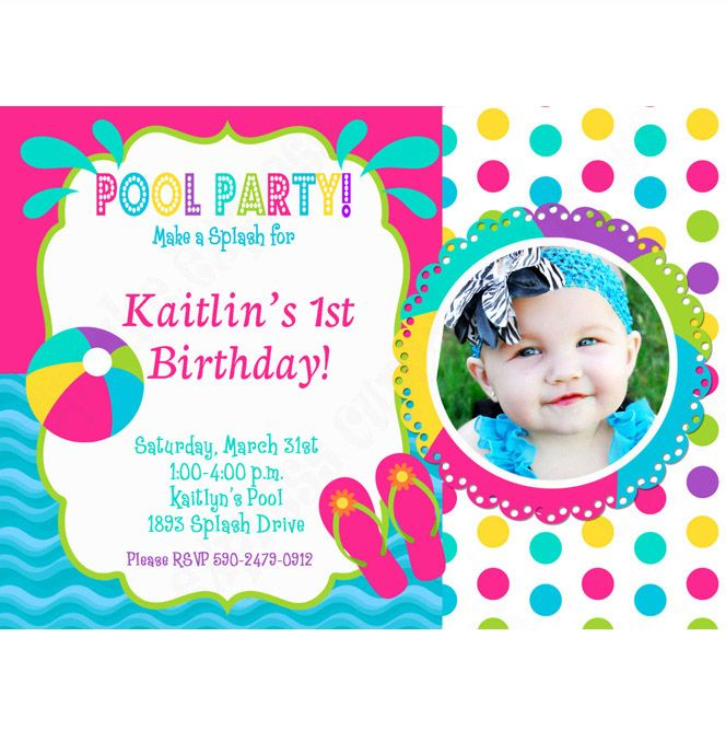 pool party photo invitations Pool Party Girl Printable Photo - birthday invitation pool party