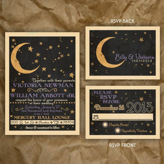 paper moon celestial wedding or party invitation vintage 1920s