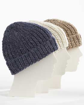 22c9c1e02a14e2 Warm ribbed hats for the whole family. Shown in Bernat Alpaca. free pattern
