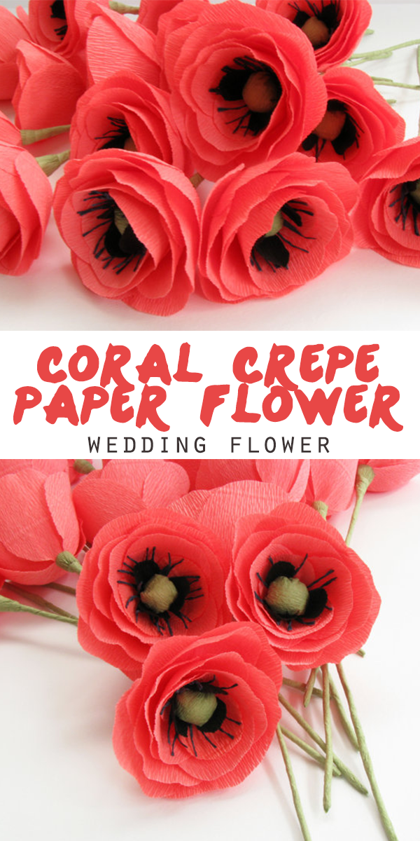 Coral crepe paper flower made from a high quality crepe paper coral crepe paper flower made from a high quality crepe paper perfect as a mightylinksfo