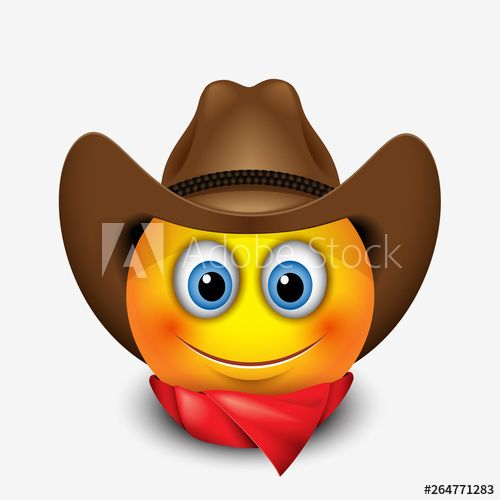 Cute Smiling Emoticon Wearing Cowboy Hat Emoji In 2021 Smiley Emoji Emoticon Emoji