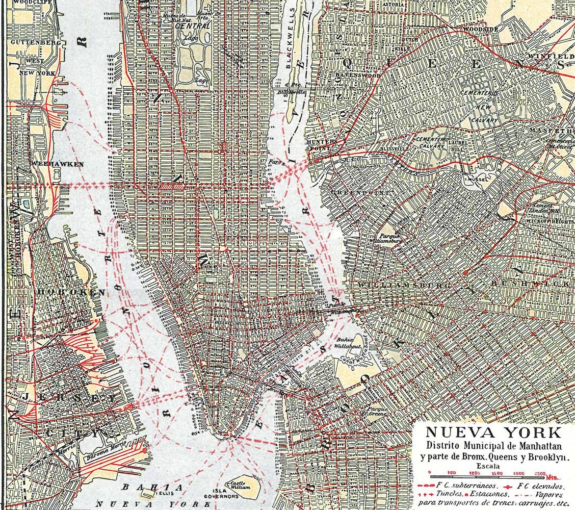 1938 New York City Manhattan Street Map Vintage 18x36 4995 via