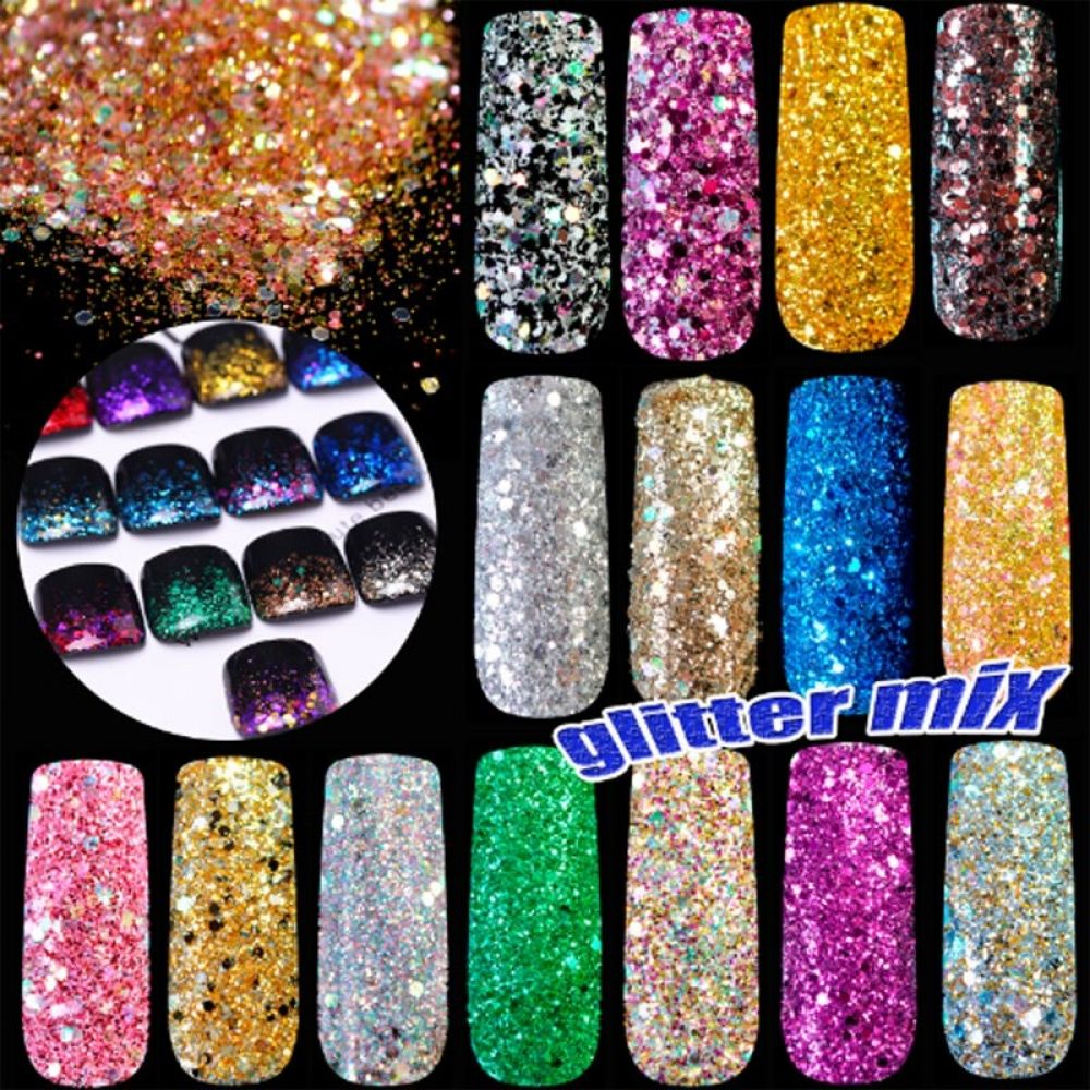 200g/bag Mixed Size Sequins Nail Glitter Powder Super DIY