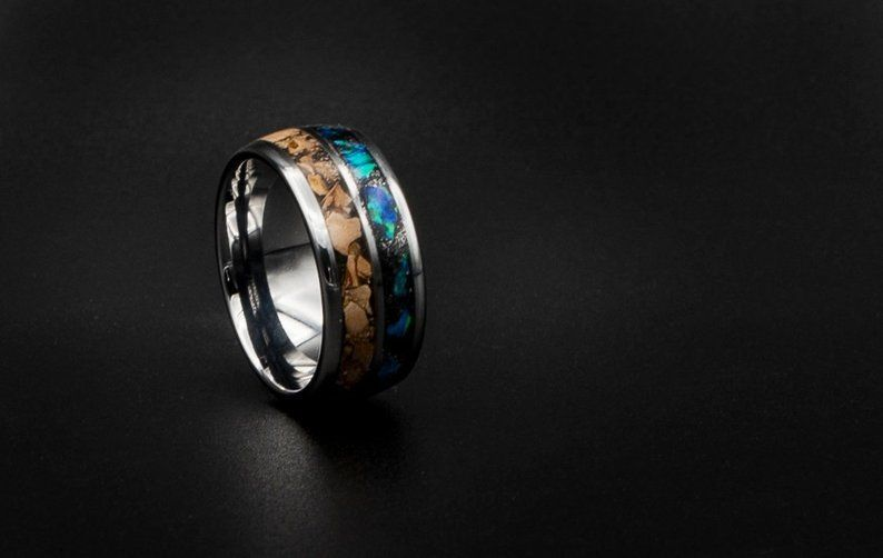 Tungsten ring with Carcharodontosaurus inlay dinosaur ring unique mens ring Opal tungsten ring Opal ring meteorite ring