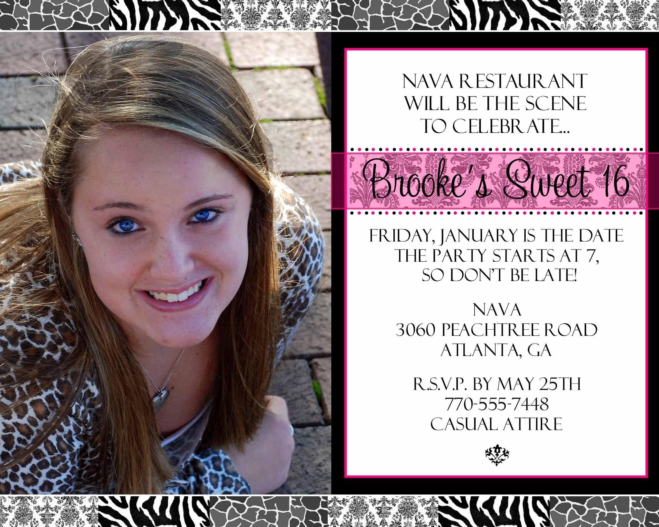 Printable Sweet 16 Blank Invitation Template Download
