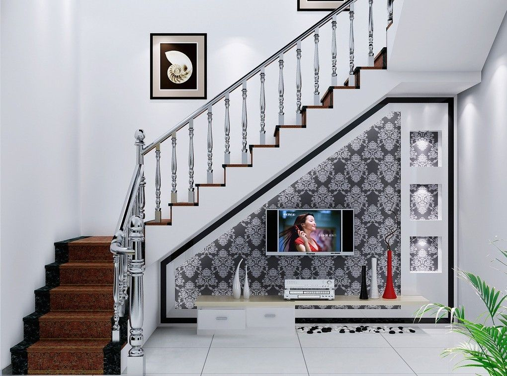 tv built in under staircase | television under stairs design ideas