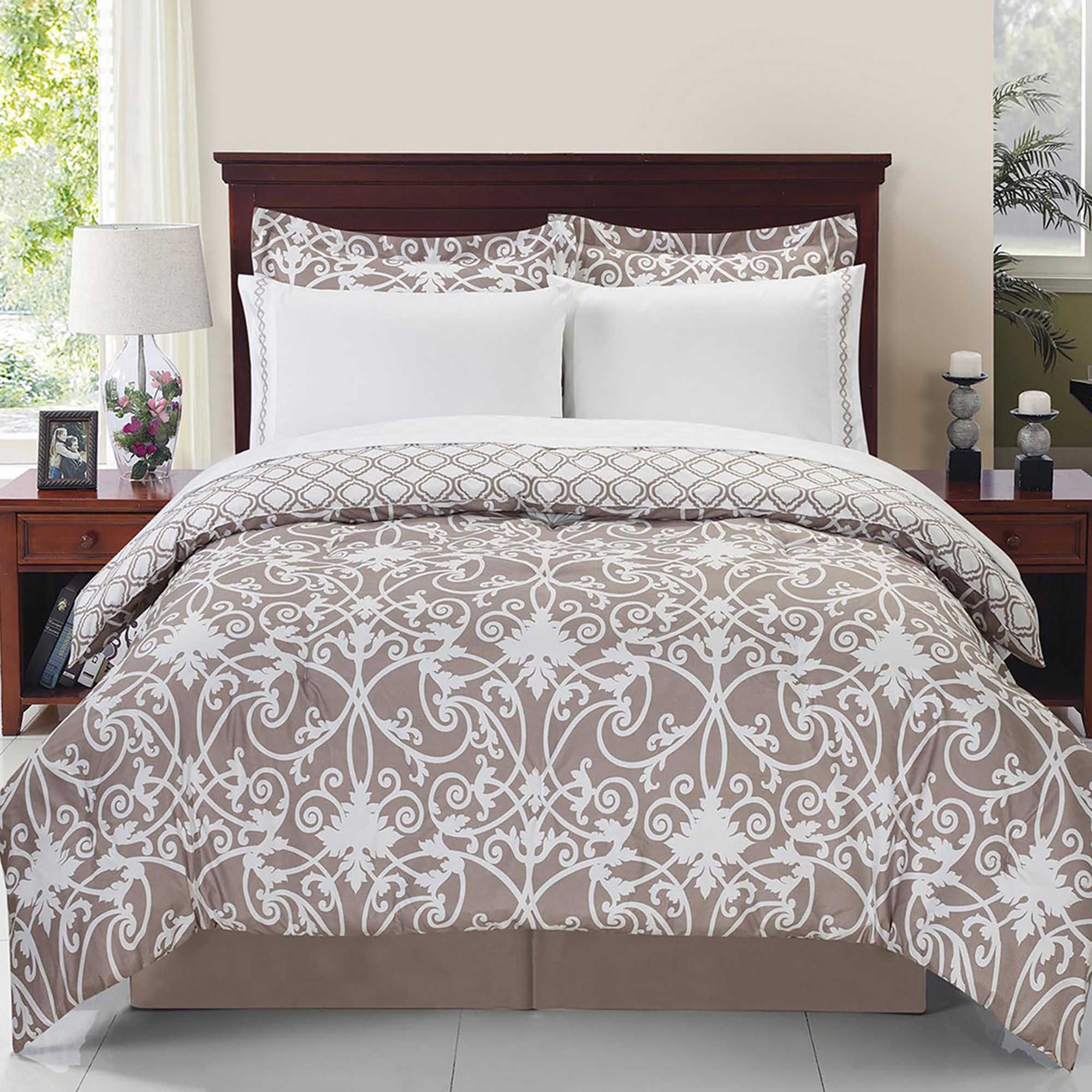 Solano 8 Piece Reversible Queen Comforter Set In Taupe White