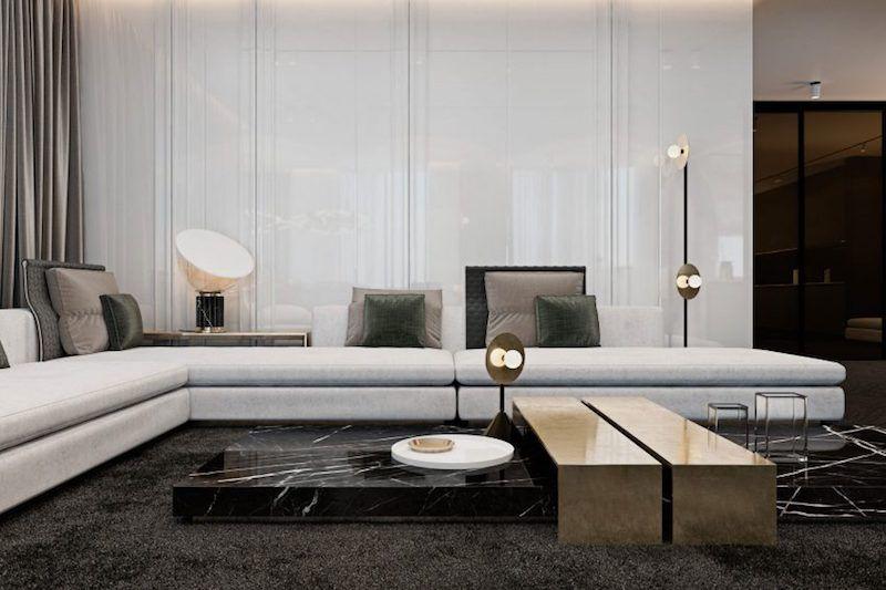 Parquet Gris Fonce Combine De Marbre Noir Meubles Et Luminaires Design Decoration Interieure Moderne Idees De Design D Interieur Maison Minimaliste