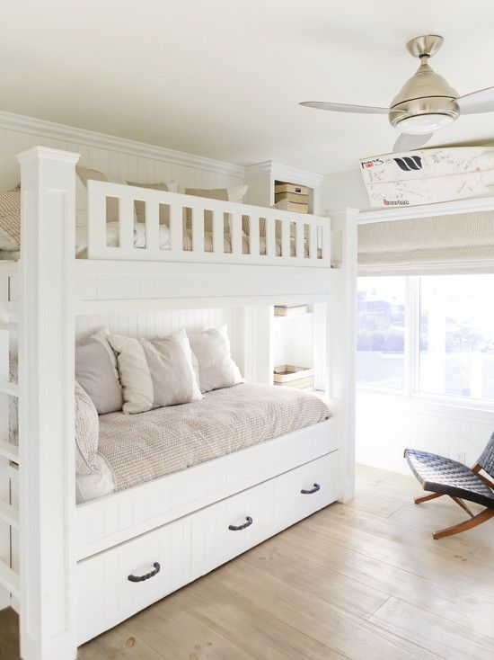 Wonderful Beach Home With Chic Interior: Cozy Bunk Bed Design Idea Made  From Wooden Material