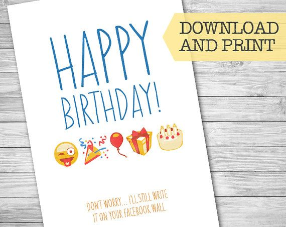 Funny Emoji Birthday Card Facebook Post Social Media By NviteCP