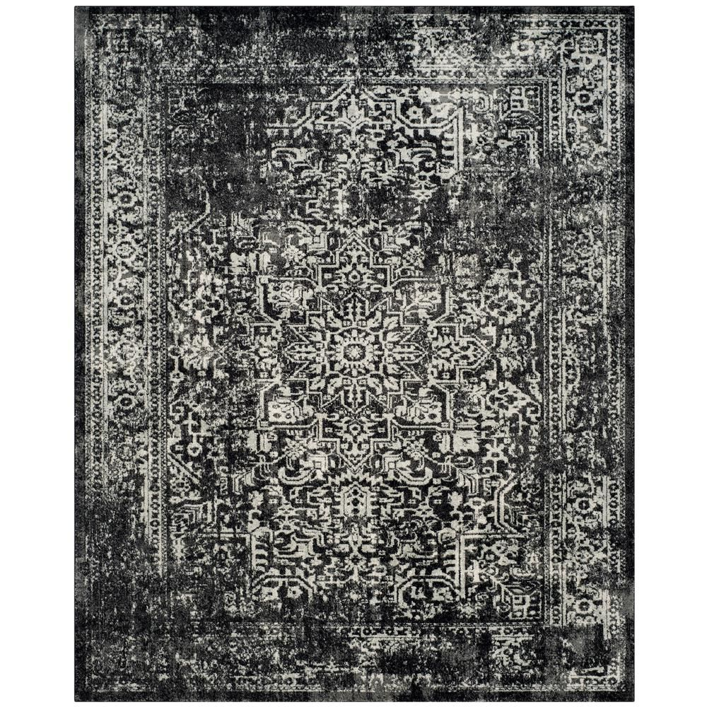 Safavieh Evoke Black Gray 9 Ft X 12 Ft Area Rug Evk256r 9 Black And Grey Rugs Traditional Area Rugs Grey Area Rug