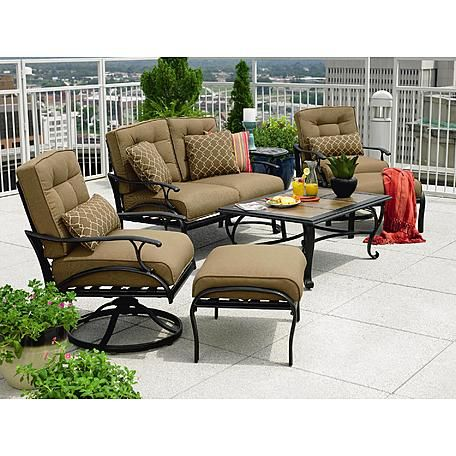 La Z Boy Outdoor Caitlyn 4 Pc Seating Set 6 Outdoor Furniture Sets Backyard Furniture Outdoor Furniture