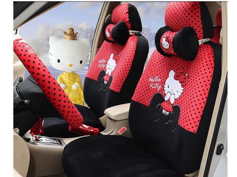 New Hello Kitty Car Seat Covers Accessories Set 18PCS TL