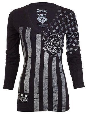 Archaic AFFLICTION Women LS T-Shirt NATION Tattoo Biker USA FLAG Sinful S-XL $58