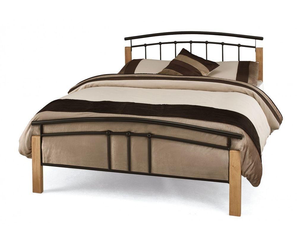 New Serene Tetras Black Beech 4ft 6 Double Metal Bed Hoose