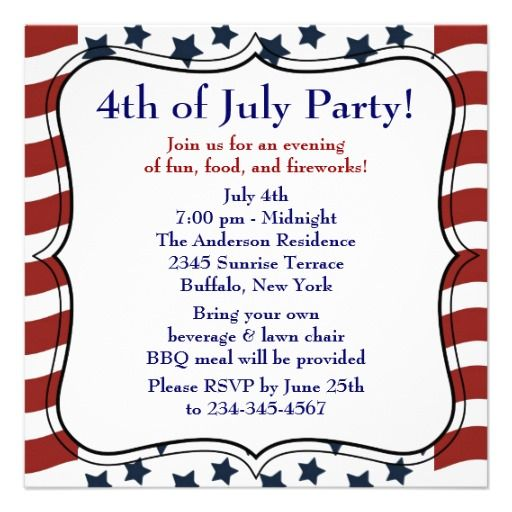 Stars Stripes 4th of July BBQ Party Invitation