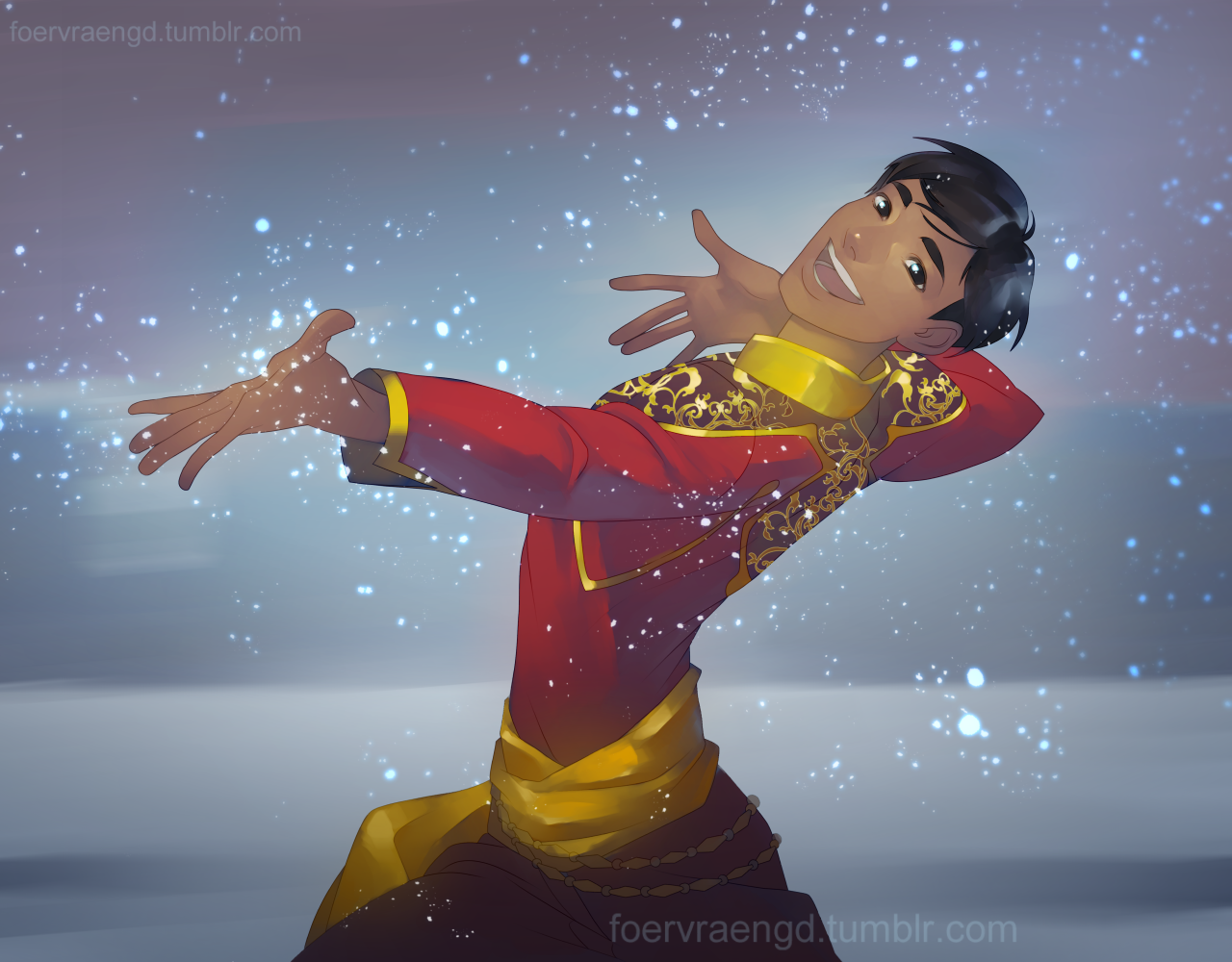 """foervraengd: """"Phichit from Yuuri On Ice is precious and I love him This is a relatively simple painting I did because I havent done much digital art lately and I'm feeling very rusty. But I hope y'all like it! """""""