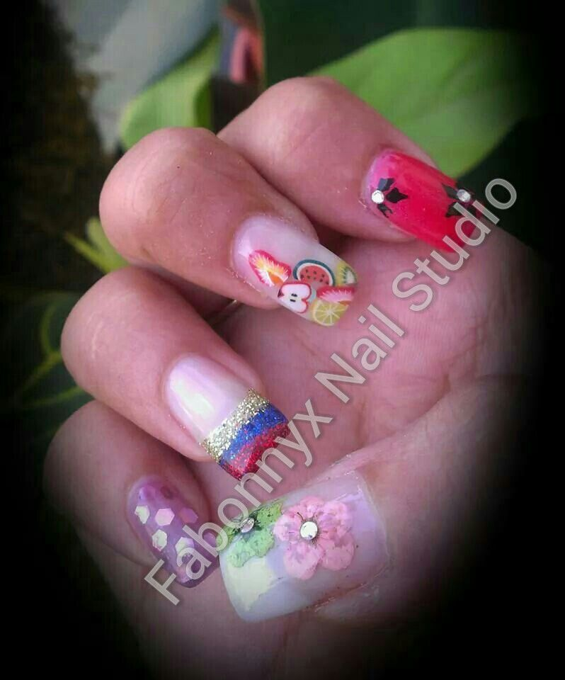Nail art bouquet with milers, french, fruit fimos and dry flowers on ...