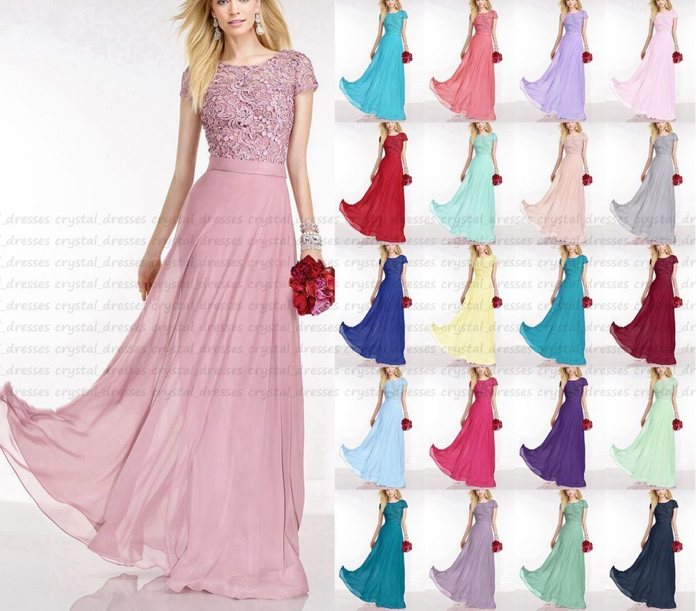 Hot longlace cap sleeve evening formal party ball gowns prom