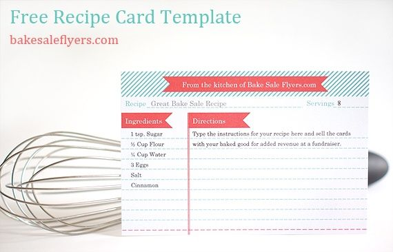 Free recipe card template you can type in your recipe in for Template for recipes in word