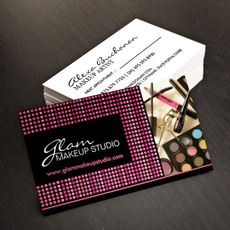 Fully customizable makeup artist business cards created by Colourful ...