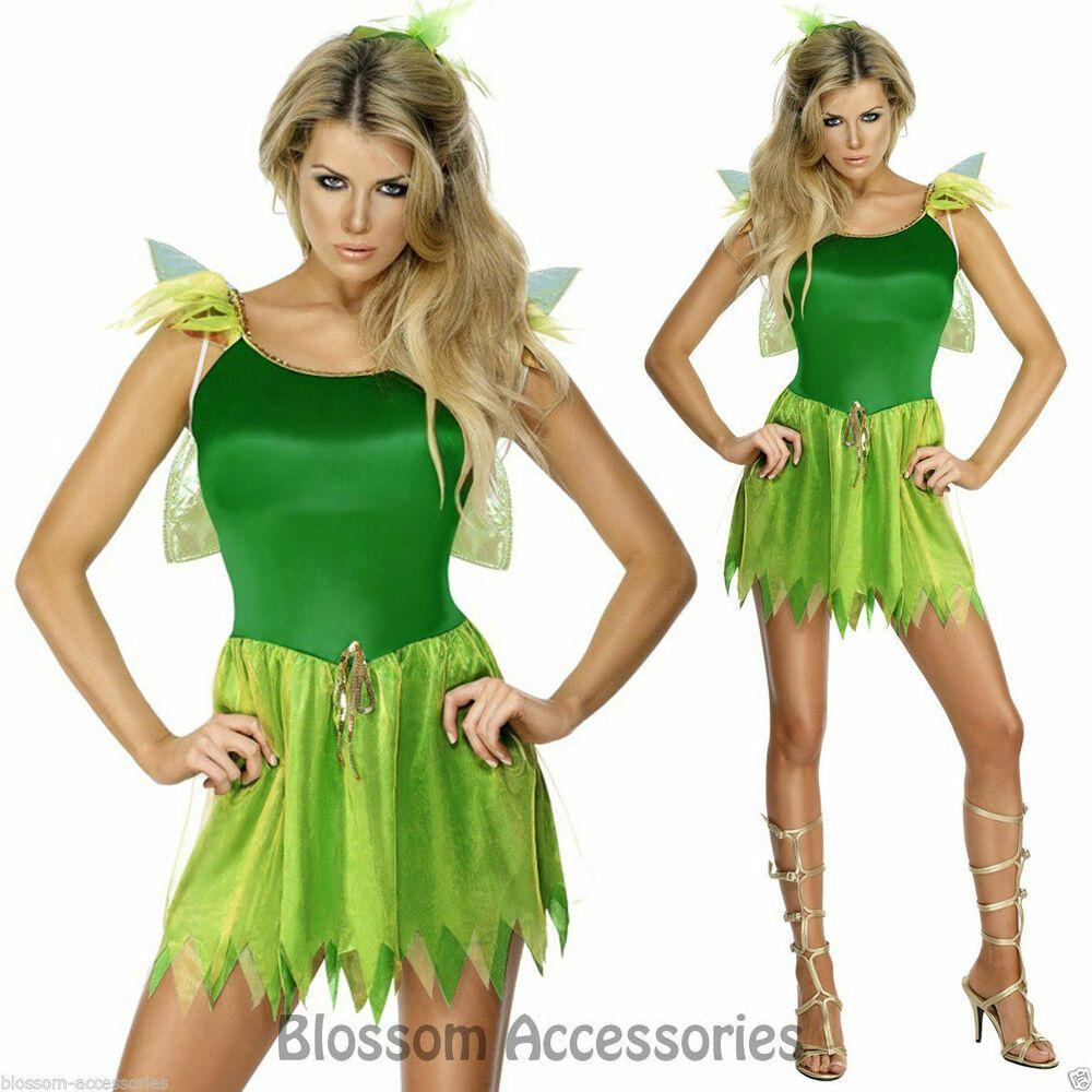 Cl454 Woodland Green Fairy Womens Tinkerbell Pixie Fancy Dress Costume Wing Fancy Dress Costumes Costumes For Women Fairy Dress [ 1000 x 1000 Pixel ]