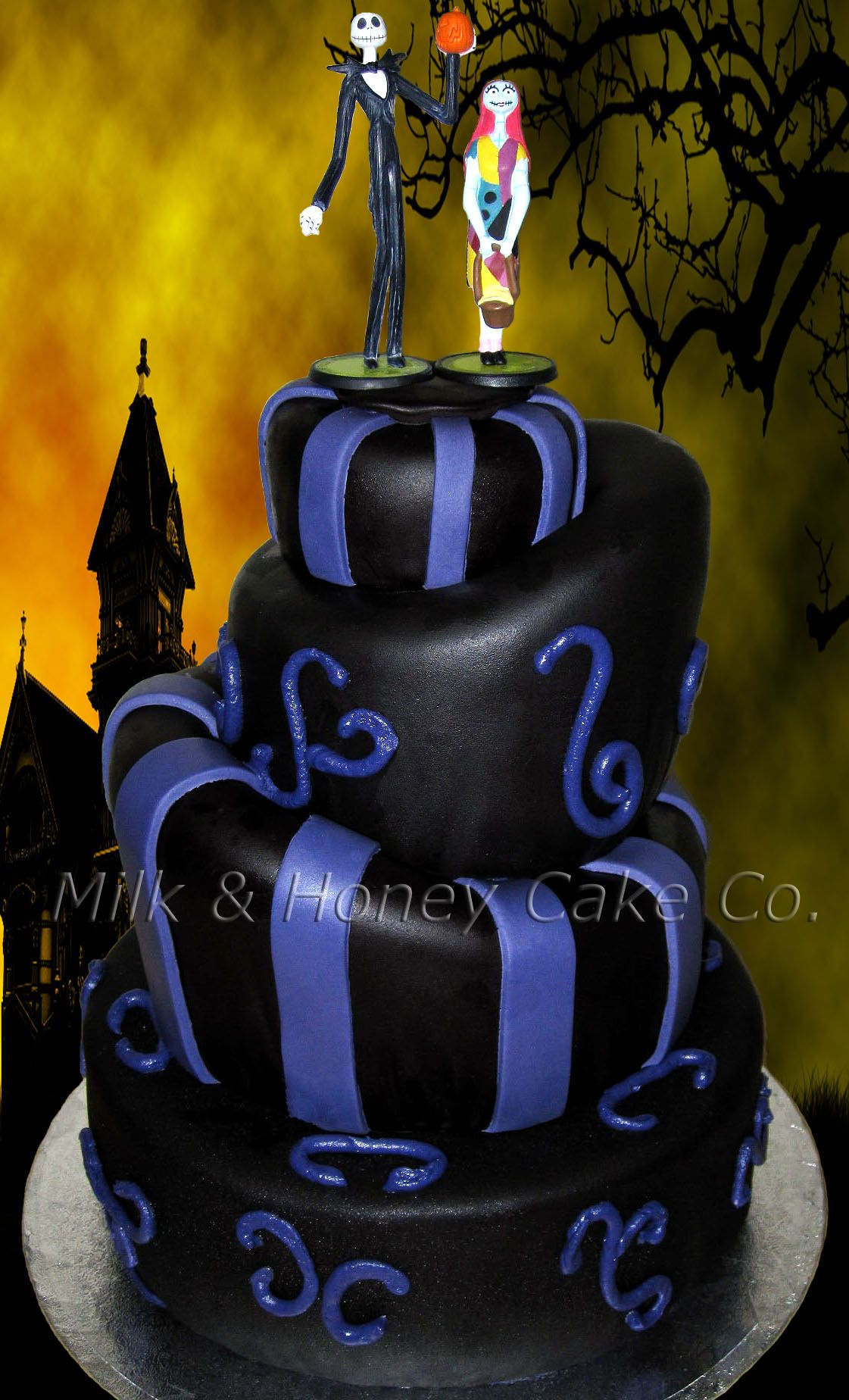 Topsy Turvy (Mad Hatter) style round black and purple wedding cake ...