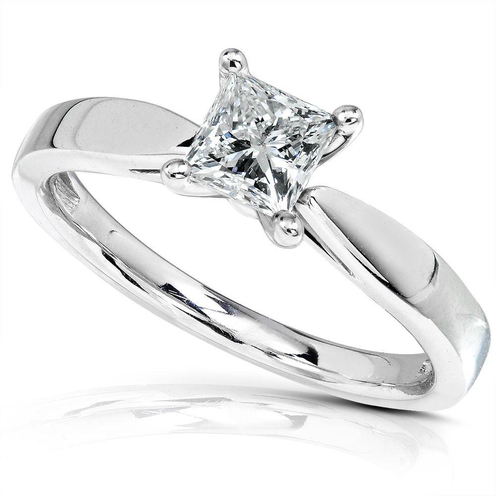 Annello k gold ct tdw diamond solitaire engagement ring hi