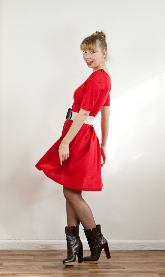 Red Pleated Wool Jersey Dress with Shoulder Straps by LanaStepul, via Etsy.