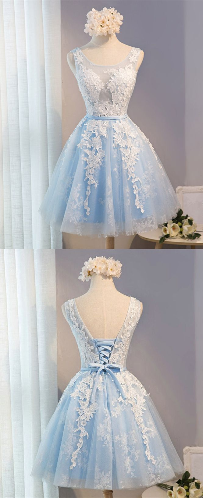 Aline scoop short light blue tulle homecoming dress with appliques