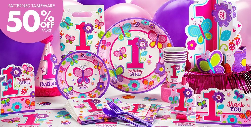 Butterfly first birthday party decor from Party City Its PERFECT