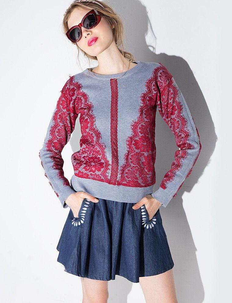Lace Crew Neck Sweater  $86.00