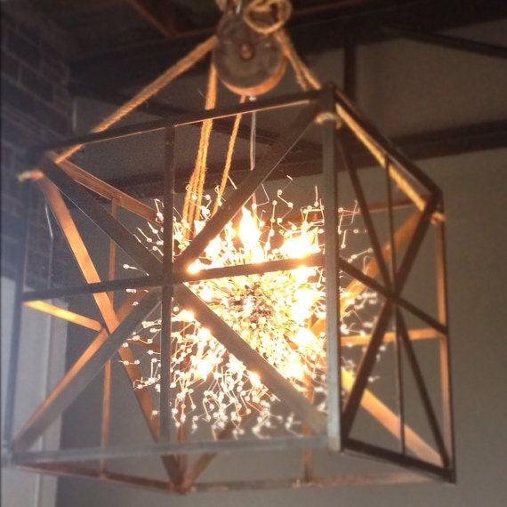 Custom welded steel chandelier on pulley welding pinterest custom welded steel chandelier on pulley aloadofball Images