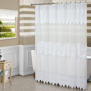 Macrame Lace Shower Curtain In White Or Natural Lace Shower
