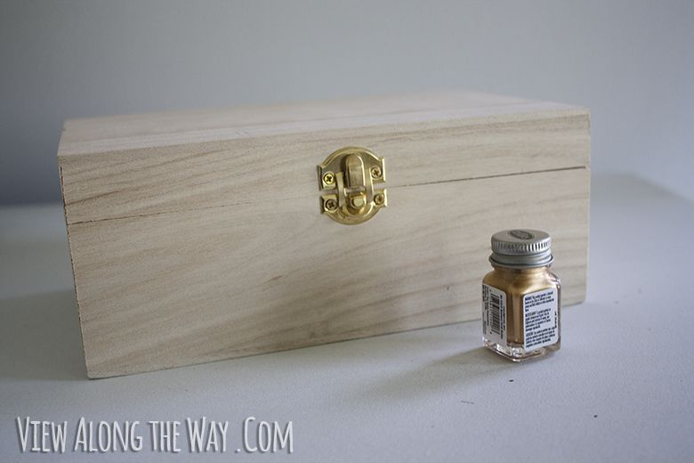 Raw wood unfinished craft box and Testors Enamel paint