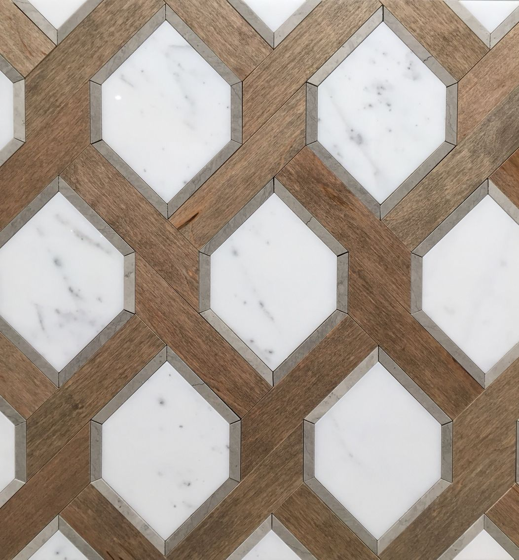 Renaissance Tile and Bath's White Marble and Nougat Wood