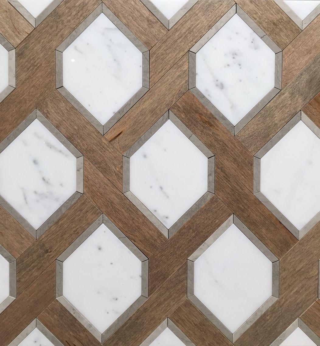 Renaissance Tile and Bath\'s White Marble and Nougat Wood tile ...